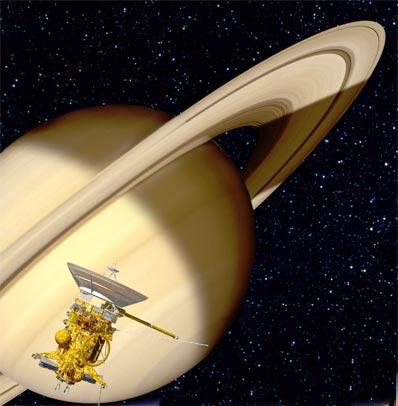 La nave Cassini ha completado exitosamente su maniobra de frenado y ha entrado en órbita alrededor de Saturno. Ilustración: ESA