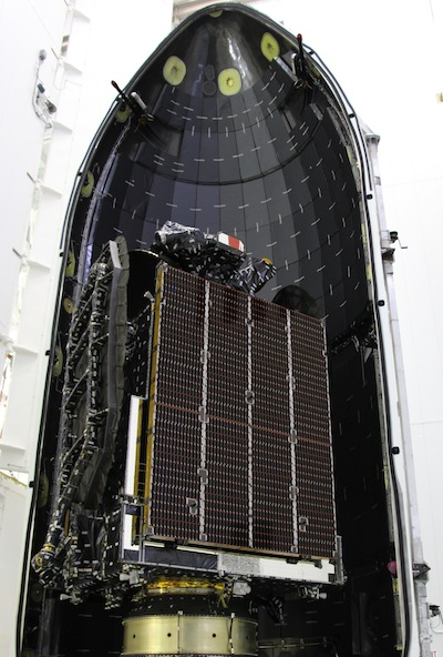 the asiasat 6 communications satellite is encapsulated inside the falcon 9 rocket s payload fairing credit asiasat the value of sunday s mission is