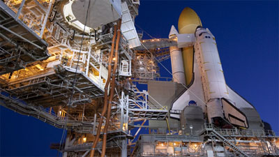 Discovery at pad for STS-131 launch