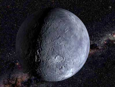 This is an artist's impression of the icy Kuiper belt object 2002 LM60, dubbed