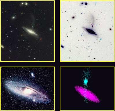 Imágenes de grandes galaxias espirales devorando pequeñas galaxias vecinas cercanas, tomadas con detectores diferentes.