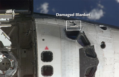 damaged thermal blanked on Discovery