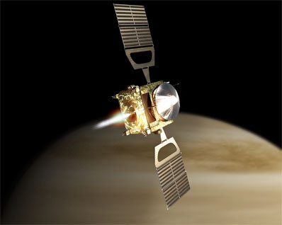 artist's rendition of Venus Express orbiting Venus