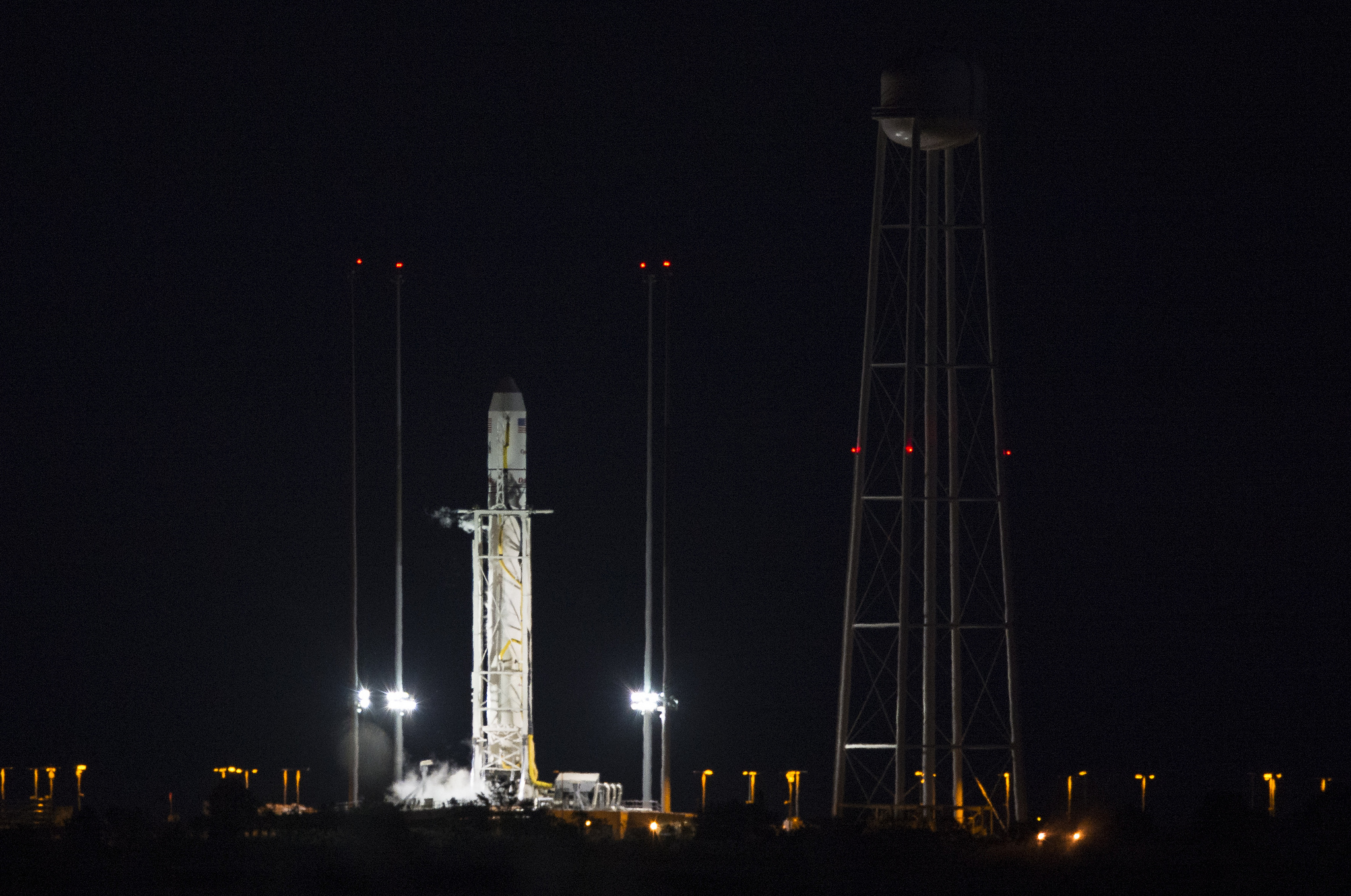 The Orbital Sciences Corp. Antares rocket sits on launch pad 0A at Wallops Island, Va., after Monday's scrub. Credit: NASA/Joel Kowsky