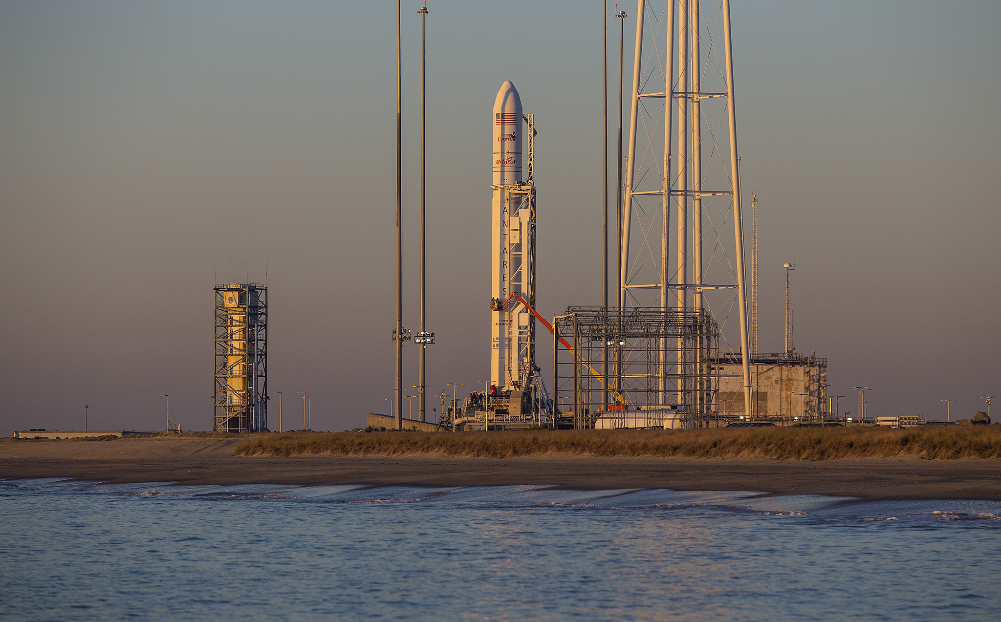 The Antares rocket on launch pad 0A at Wallops Island, Va. Credit: Orbital Sciences Corp.