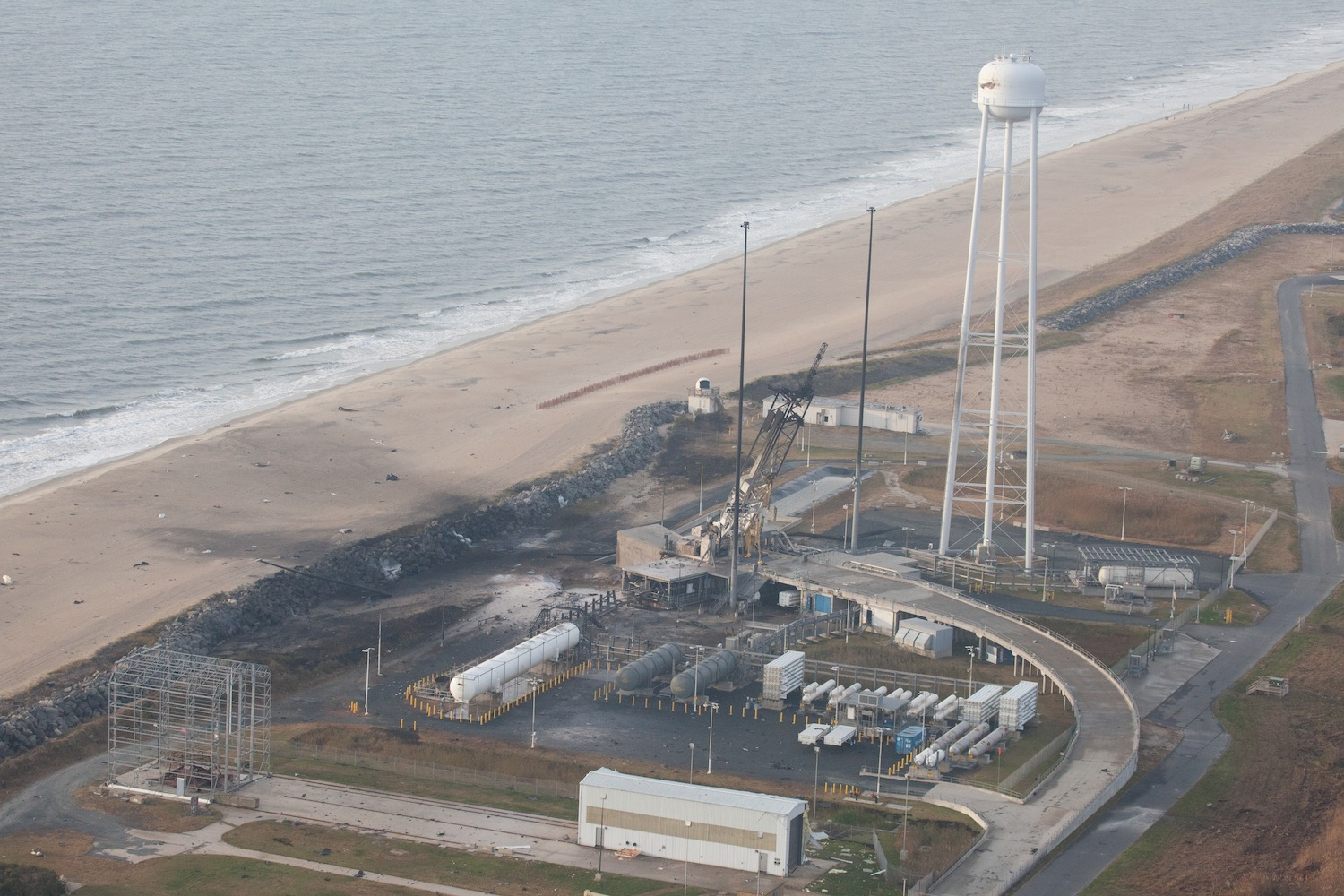 An aerial view of the Wallops Island launch facilities taken by the Wallops Incident Response Team on Wednesday. Credit: NASA/Terry Zaperach