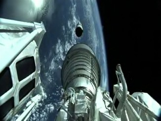 The RL10 hydrogen-fueled engine ignites to continue the ascent. Credit: ULA