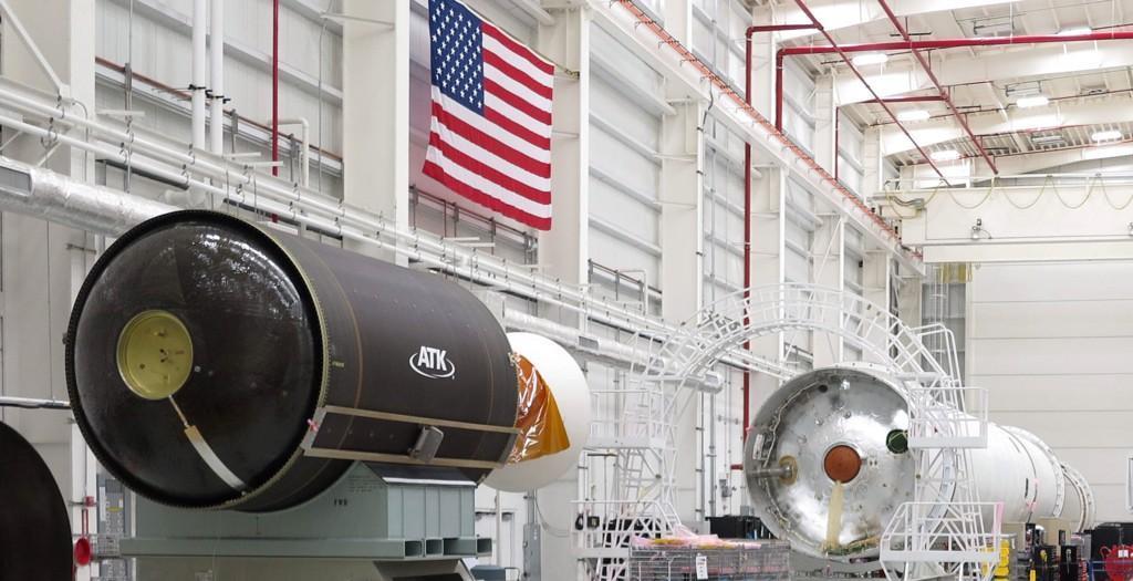 The Castor 30XL motor seen inside the Antares rocket's horizontal integration facility. Credit: ATK