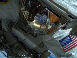 Astronaut Reid Wiseman seen on Wednesday's spacewalk. Credit: NASA/Butch Wilmore