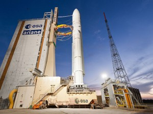The Ariane 5 rocket sits on the ELA-3 launch pad Wednesday evening. Credit: ESA/CNES/Arianespace - Optique Video du CSG - P. Piron