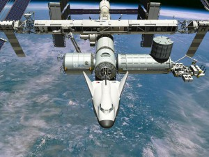 Artist's impression of the Sierra Nevada Dream Chaser crew transport space plane docked to the International Space Station. Image: Sierra Nevada.