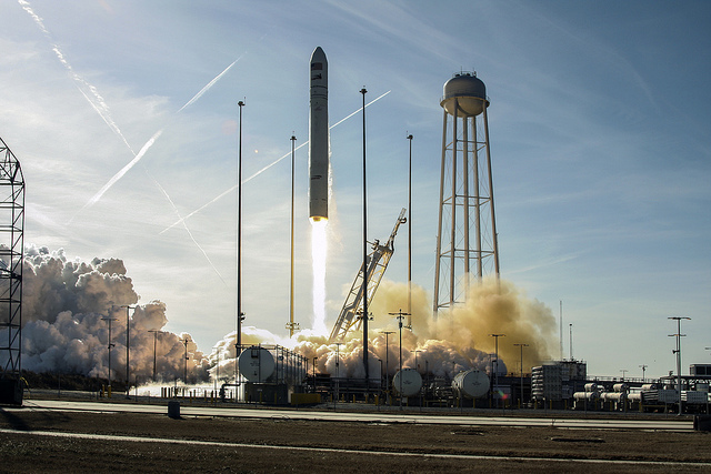 The Antares rocket lifts off from launch pad 0A at the Mid-Atlantic Regional Spaceport in Virginia.