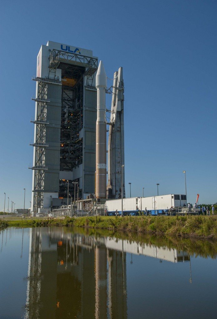 The Atlas 5 rocket departs the Vertical Integration Facility at Cape Canaveral's Launch Complex 41. Photo: United Launch Alliance.