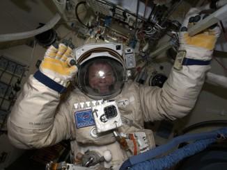 Cosmonaut Alexander Samokutyaev inside his Orlan spacesuit before the start of Wednesday's spacewalk. Photo credit: NASA/ESA/Alexander Gerst