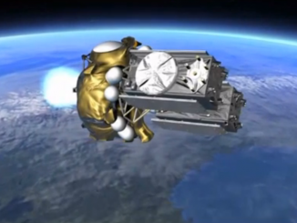 Artist's concept of a Fregat upper stage during launch with two Galileo navigation satellites. Photo credit: Arianespace TV/Spaceflight Now