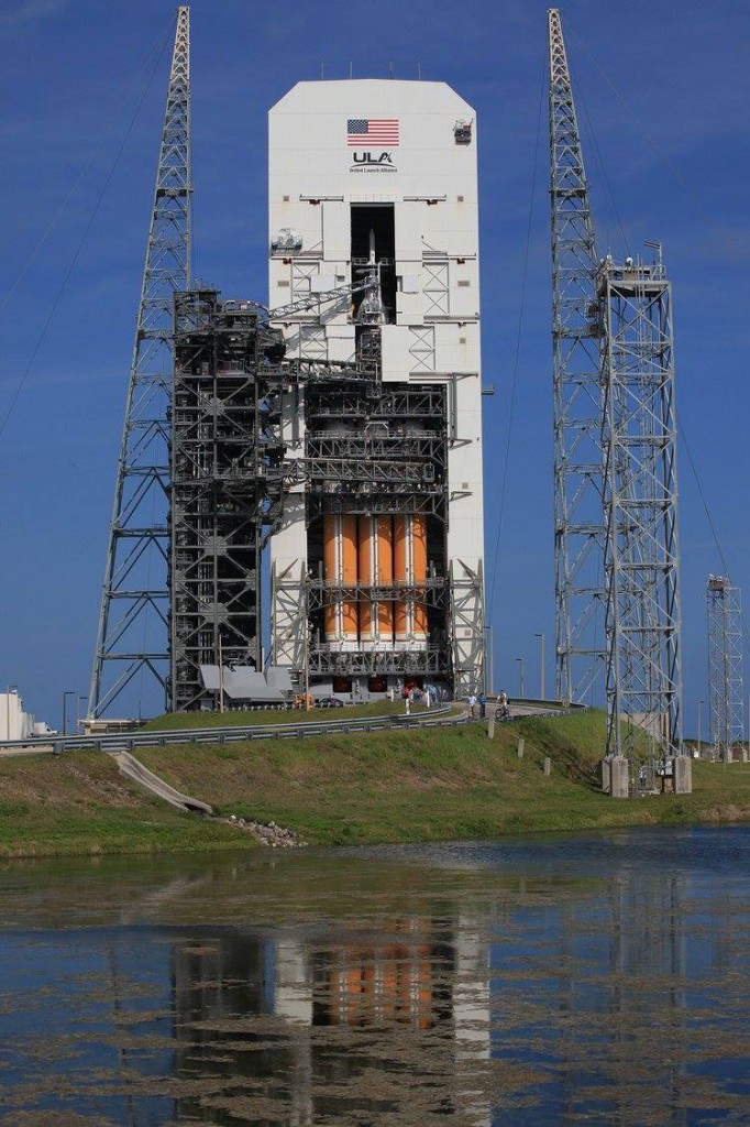 The first flight test of Orion will be a two-orbit, four-hour shakedown cruise to check critical systems of the crew capsule. Credit: ULA