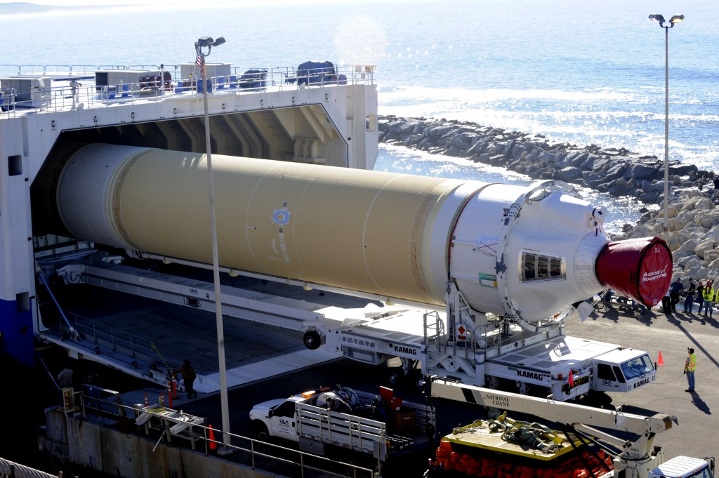 The Delta 4 rocket Common Booster core is offloaded from the Mariner. Credit: Senior Airman Shane M. Phipps/Air Force.