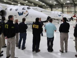 NTSB investigators visit Virgin Galactic's hangar in Mojave, Calif. Credit: NTSB