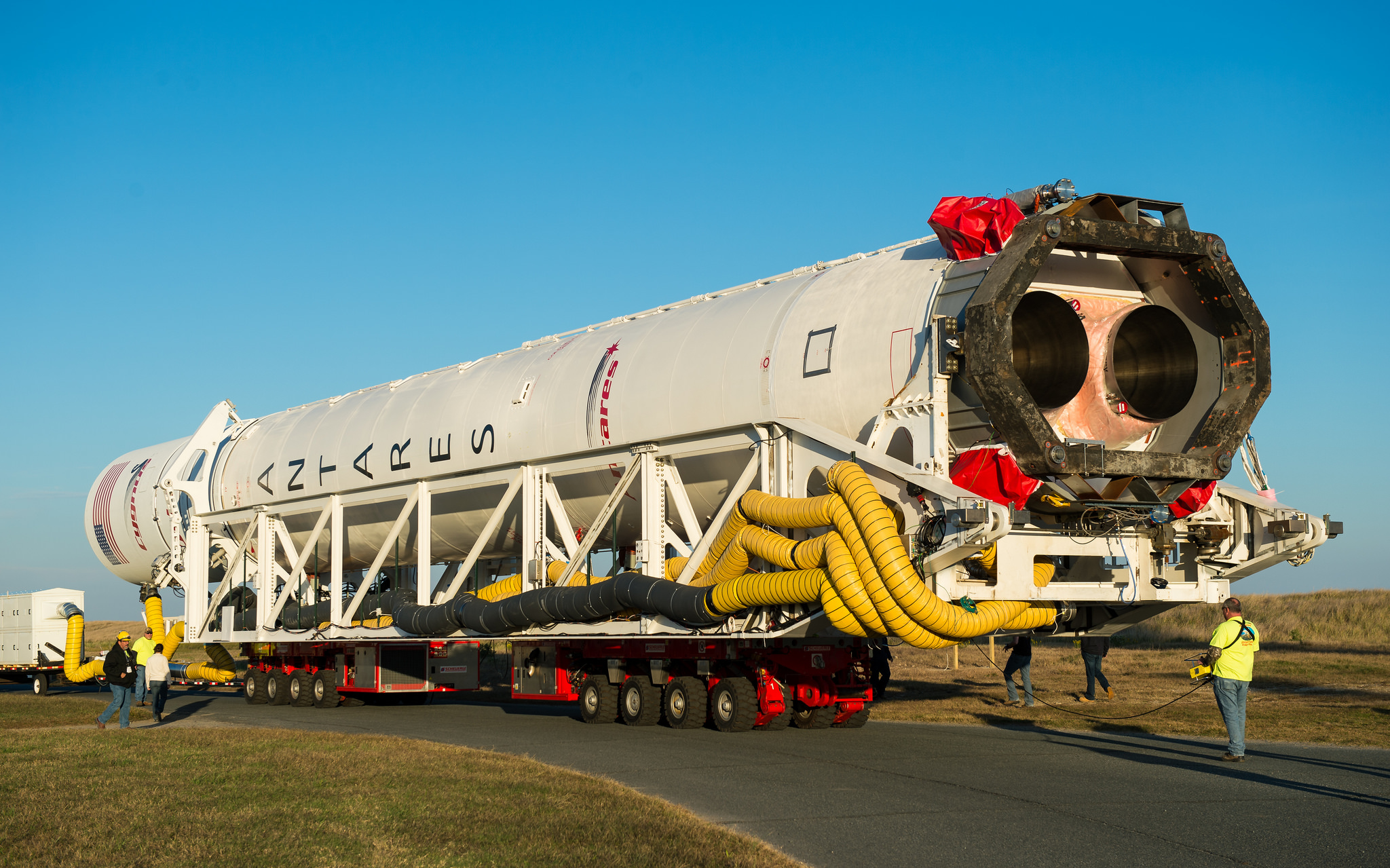 The Antares rocket's AJ26 engines are seen during the booster's rollout to the launch pad at Wallops Island, Va. Credit: NASA/Joel Kowsky