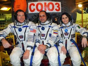 The Soyuz TMA-15M crew at the Baikonur Cosmodrome (left to right): NASA astronaut Terry Virts, Soyuz commander Anton Shkaplerov and ESA astronaut Samantha Cristoforetti. Credit: NASA