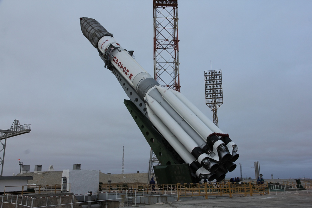 The Proton rocket with Astra 2G rolled to the launch pad at the Baikonur Cosmodrome earlier this week. It will now be transferred back into an integration building. Credit: Roscosmos
