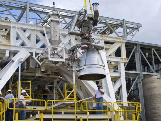 File photo of an AJ26 engine being prepared for ground testing at NASA's Stennis Space Center in Mississippi. Credit: NASA