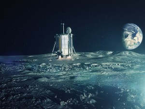 Artist's concept of the Lunar Mission One spacecraft landing on the moon. Credit: Lunar Missions Ltd.