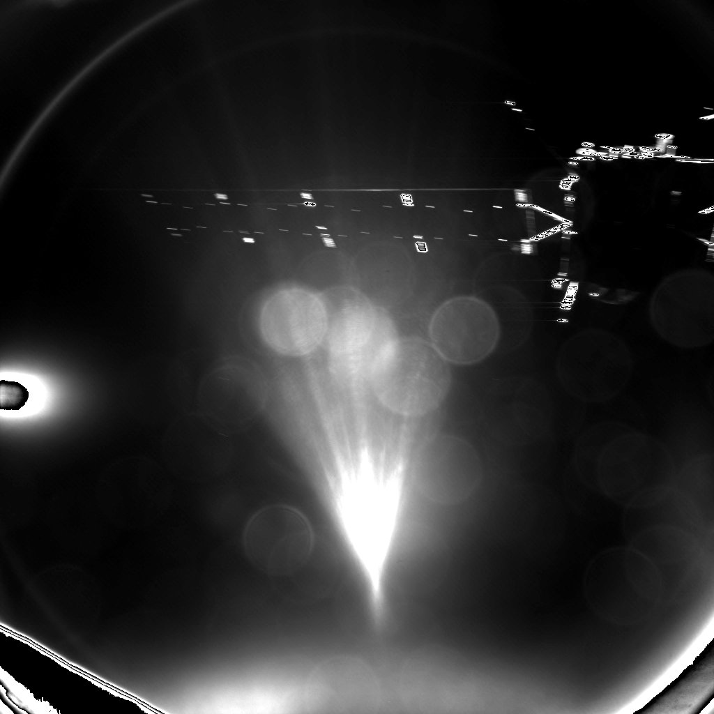 Philae's farewell image of Rosetta shows the mothership's main body and one of the probe's power-generating solar panels. Credit: ESA/Philae/CIVA