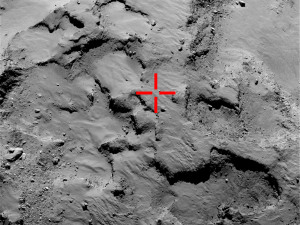 This image from Rosetta's camera, taken in September, shows the place Philae first landed before bouncing twice and finally coming to rest about a kilometer away. Credit: ESA/Rosetta/MPS for OSIRIS Team MPS/UPD/LAM/IAA/SSO/INTA/UPM/DASP/IDA.