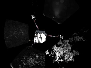 Rosetta's lander Philae has returned the first panoramic image from the surface of a comet. The view, unprocessed, as it has been captured by the CIVA-P imaging system, shows a 360º view around the point of final touchdown. The three feet of Philae's landing gear can be seen in some of the frames. Superimposed on top of the image is a sketch of the Philae lander in its current configuration. Credit: ESA/Rosetta/Philae/CIVA.