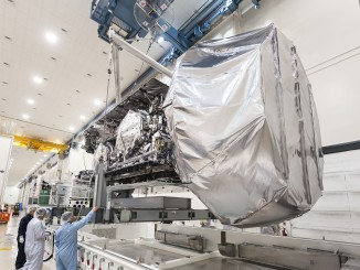 The U.S. Navy's third MUOS communications satellite inside a Lockheed Martin clean room in Sunnyvale, Calif. Credit: Lockheed Martin