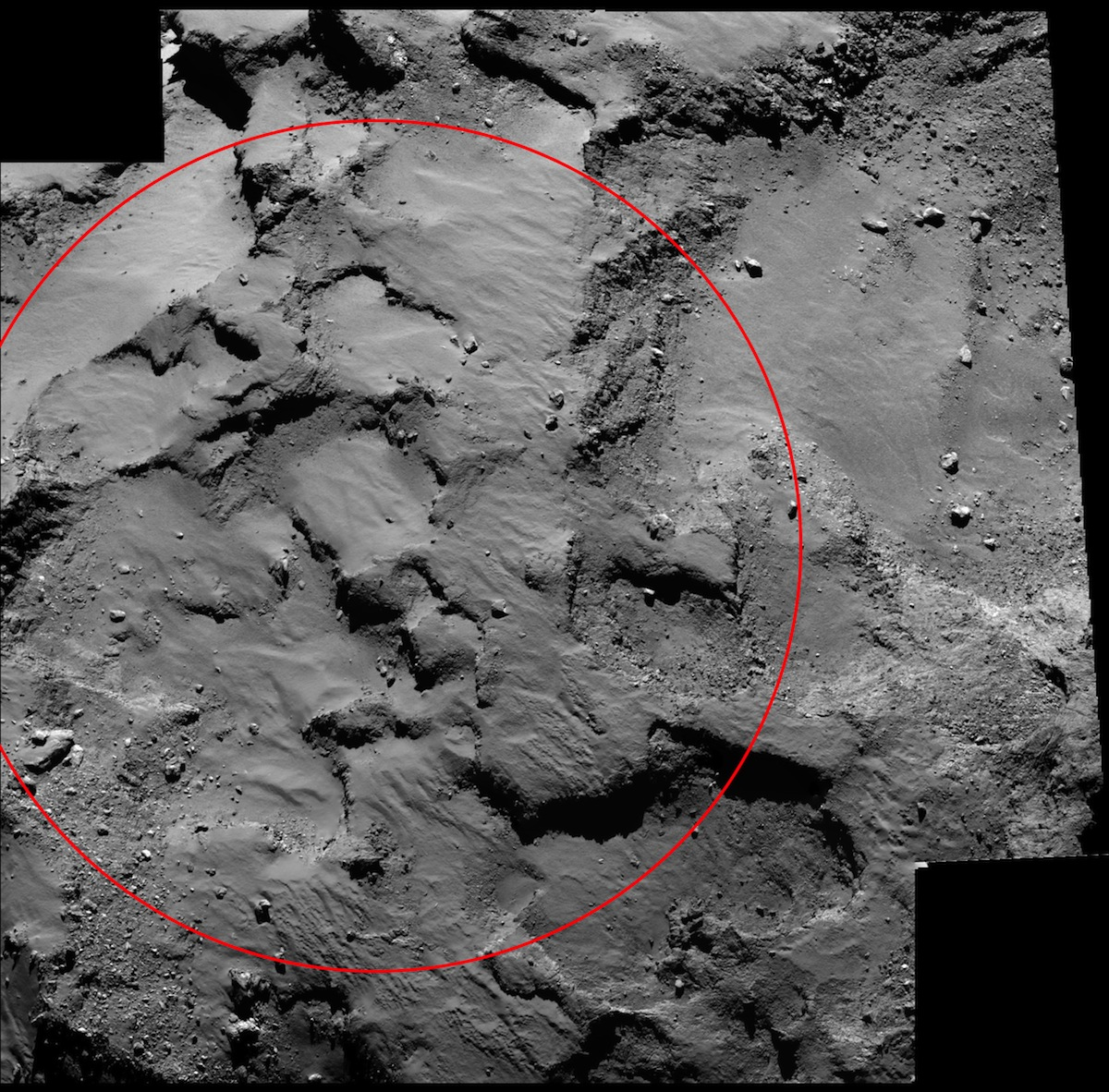 A close-up view of Philae's landing site on the comet. The red circle is about 500 meters, or 1,640 feet, across for scale. Credits: ESA/Rosetta/MPS for OSIRIS Team MPS/UPD/LAM/IAA/SSO/INTA/UPM/DASP/IDA