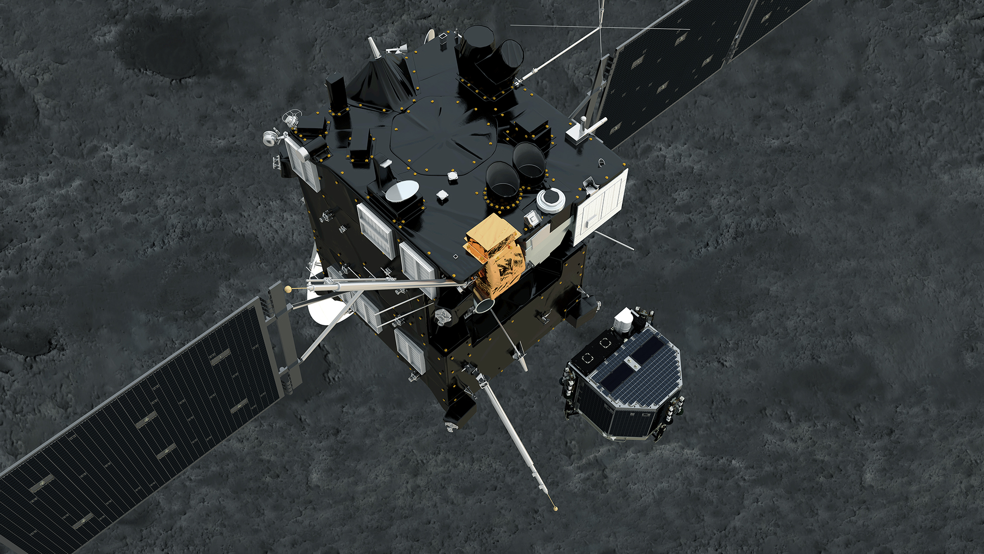 Artist's concept of the Philae comet lander ejecting from Rosetta to begin its seven-hour descent. Credit: NASA