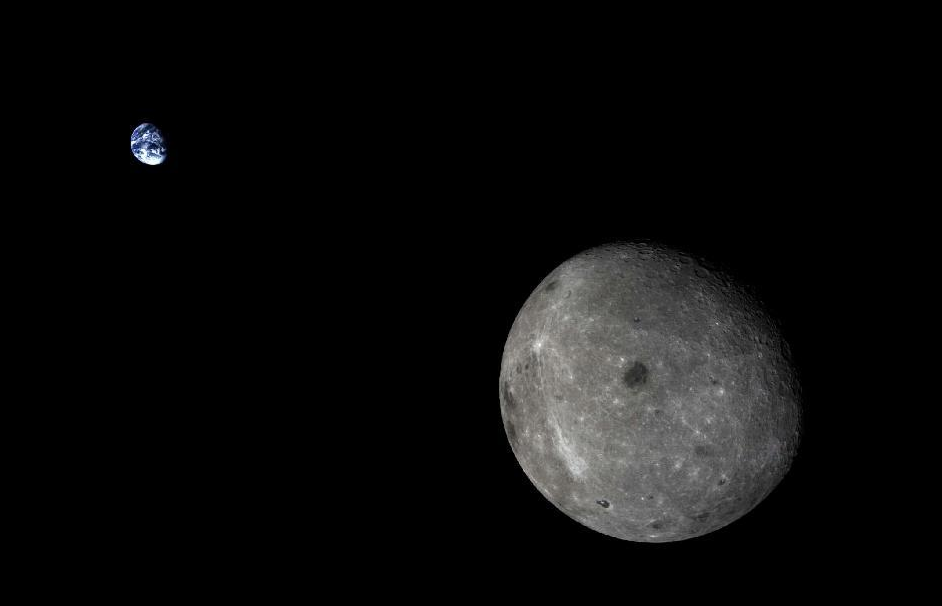China's lunar test probe and returned this stunning view of the Earth and the far side of the moon before landing Friday. Credit: Xinhua/SASTIND