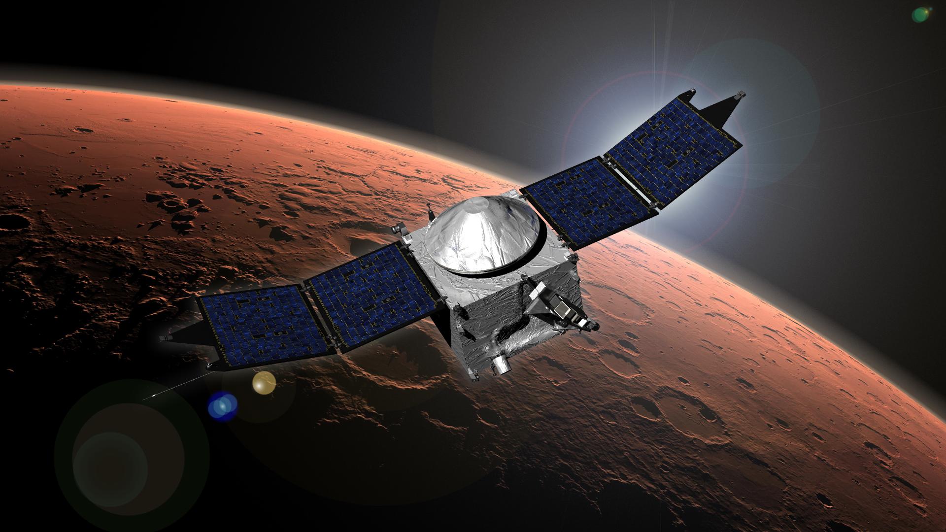 Artist's concept of NASA's MAVEN spacecraft at Mars. Credit: NASA/GSFC