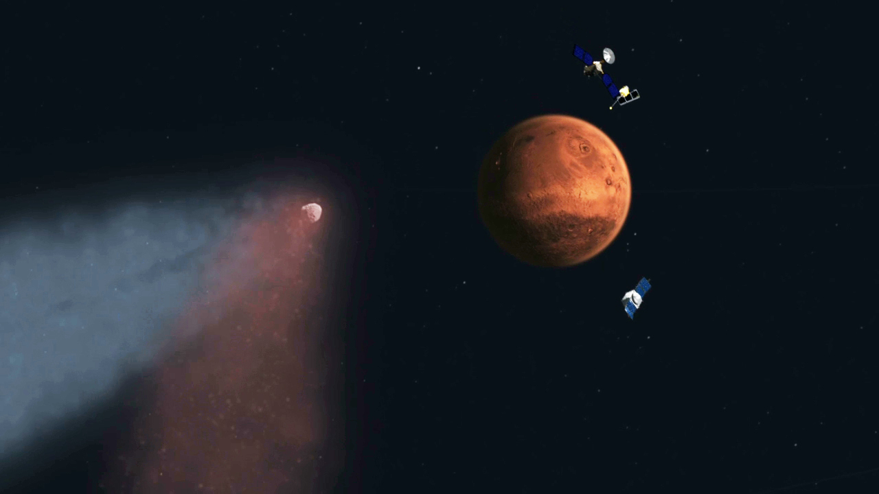 Artist's concept of Comet Siding Spring approaching Mars, shown with NASA's orbiters preparing to make science observations of this unique encounter. Credit: NASA/JPL