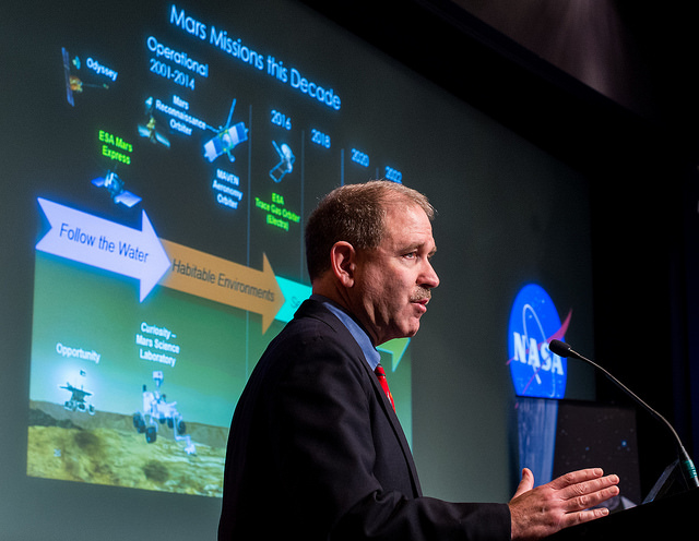 John Grunsfeld, head of NASA's science directorate, says the U.S. space agency and JAXA will exchange OSIRIS-REx and Hayabusa 2 asteroid samples even if one of the two missions does not succeed. Credit: NASA/Joel Kowsky