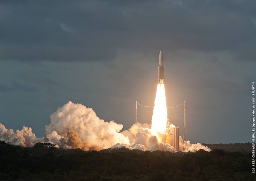 The Ariane 5 rocket lifted off at 5:40 p.m. French Guiana time. Credit: ESA/CNES/Arianespace - Optique video du CSG - S. Martin