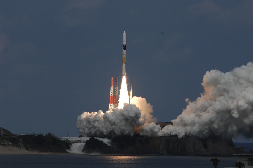 Japan's Hayabusa 2 asteroid mission blasts off from Tanegashima Space Center aboard an H-2A rocket. Credit: JAXA