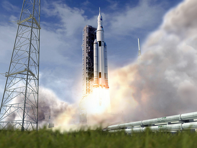 Artist's concept of the Space Launch System lifting off from launch pad 39B at Kennedy Space Center in Florida. Credit: NASA/MSFC