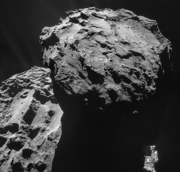 A four-image mosaic of comet 67P/Churyumov-Gerasimenko using images taken by Rosetta's navigation camera on Dec. 7 at a distance of 19.7 kilometers (12.2 miles) from the center of the comet. Credit: ESA/Rosetta/NAVCAM