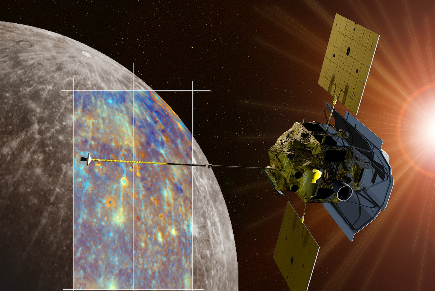 A depiction of the MESSENGER spacecraft is shown passing near the crater Hokusai and its extensive system of rays. Both the monochrome and enhanced color views of Mercury were obtained during MESSENGER's second Mercury flyby. Credit: NASA/Johns Hopkins University Applied Physics Laboratory/Carnegie Institution of Washington