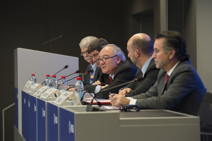ESA Director General Jean-Jacques Dordain, flanked by other European government officials, speaks to the media following Tuesday's budget meeting. Credit: ESA/S. Corvaja