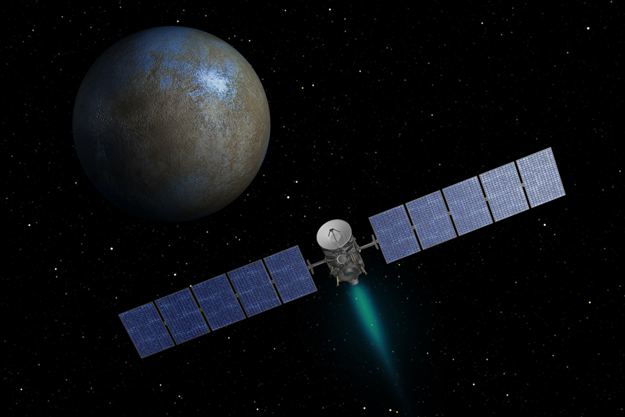 Artist's concept of the Dawn spacecraft firing its ion propulsion system on approach to Ceres. Credit: NASA/JPL-Caltech
