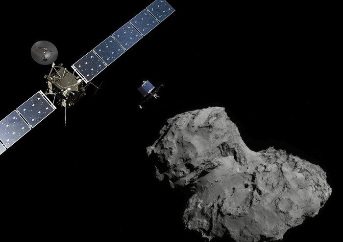 Artist's concept of the Rosetta spacecraft releasing the Philae lander. Credit: ESA/ATG medialab; Comet image: ESA/Rosetta/Navcam