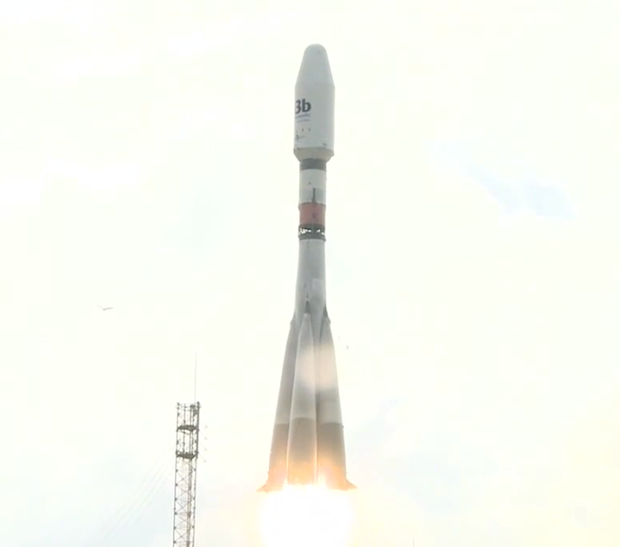 Producing more than 900,000 pounds of thrust, the Soyuz ST-B (Soyuz 2-1b) rocket soars into the sky from the Guiana Space Center.