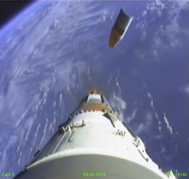 The ST-type payload fairing is released from the Soyuz rocket when it reaches the edge of the upper atmosphere. The 13.5-foot-diameter fairing protects the payload during the launch countdown and the flight through the dense lower atmosphere.