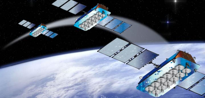 Artist's concept of four O3b satellite in orbit. Credit: Thales Alenia Space