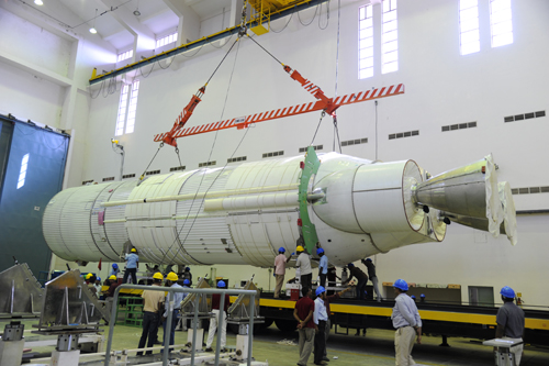 The GSLV Mk. 3 rocket's liquid-fueled core stage -- with two Vikas engines -- is seen before launch. Credit: ISRO
