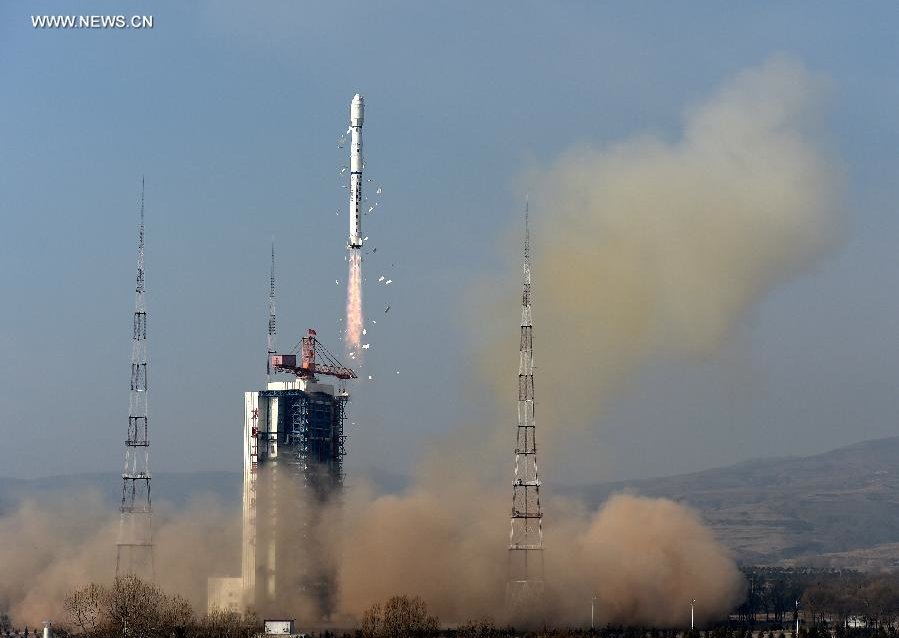 A Long March 4B rocket lifted off from the Taiyuan space center in China at 0322 GMT Saturday (11:22 p.m. EST Friday). Credit: Xinhua
